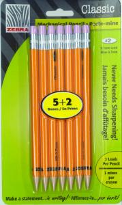 045888502574 Pencil: Mechanical Zebra 0.7mm 5+2 Pk