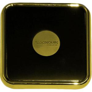 88880081379 Coaster Square - Gold/Leather