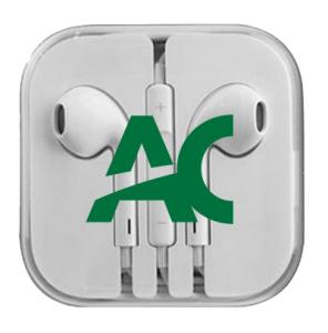88880097898 Headphones: AC Branded Earbuds W/Remote & Mic - White