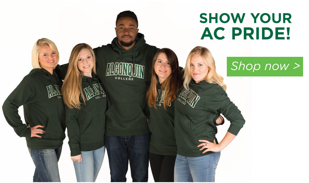 Show Your AC Pride. Shop Now. (Students in AC sweatshirts)