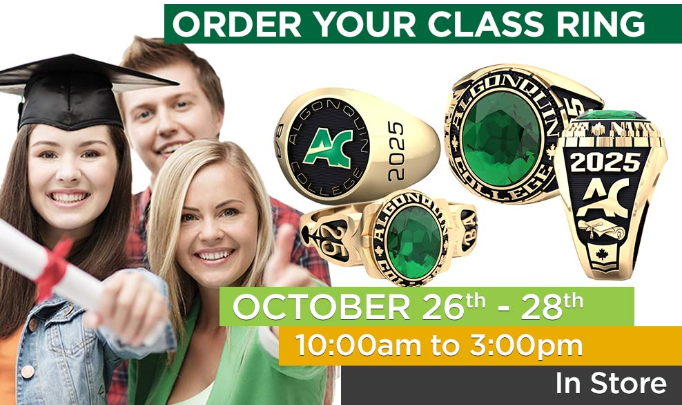 Order your class ring. October 26th - 28th in-store.