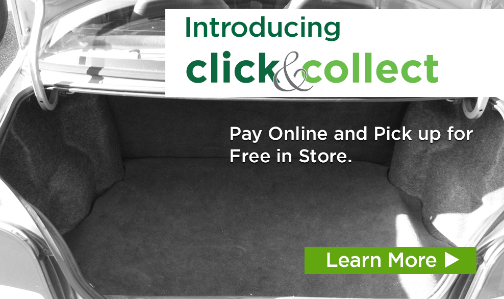 Introducing click & collect. Pay Online and Pick up for Free in Store.